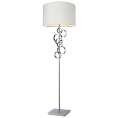 Modern Floor Lamp with White Shade in Chrome Finish