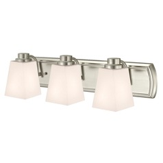 3-Light Bathroom Light in Satin Nickel and Square White Glass