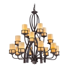Chandelier with Beige / Cream Onyx in Imperial Bronze Finish