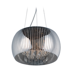 Sense II Polished Chrome Pendant Light with Drum Shade