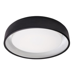 Modern Black LED Flushmount Light with Frosted Shade 3000K 2876LM