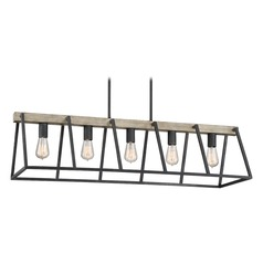 Farmhouse Industrial Island Chandelier Grey Ash Brockton by Quoizel Lighting
