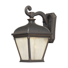 LED Outdoor Wall Light with Clear Glass in Oil Rubbed Bronze W/gold Highlights Finish