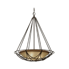 Bowl Pendant Light in Bronze Finish with Ivory Glass