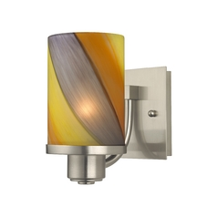 Modern Sconce Wall Light with Art Glass in Satin Nickel Finish
