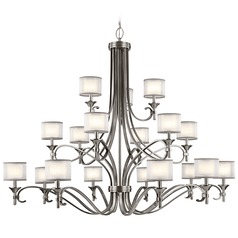 Kichler Lacey 3-Tier 18-Light Chandelier in Antique Pewter