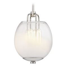 Hudson Valley Lighting Sawyer Polished Nickel Mini-Pendant Light with Oval Shade