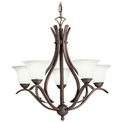 Kichler Lighting Kichler Chandelier with White Glass in Tannery Bronze Finish 10320TZ