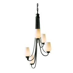 Hubbardton Forge Flora 5-Light Chandelier in Dark Smoke