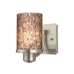 Modern Sconce Wall Light with Brown Art Glass in Satin Nickel Finish
