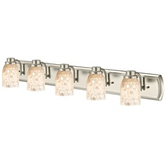 5-Light Mosaic Glass Bath Bar in Satin Nickel