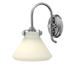 Sconce Wall Light with White Glass in Chrome Finish