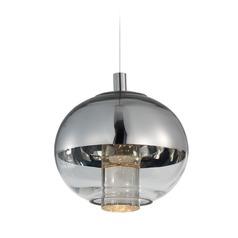 Zing Polished Chrome LED Mini-Pendant Light with Globe Shade