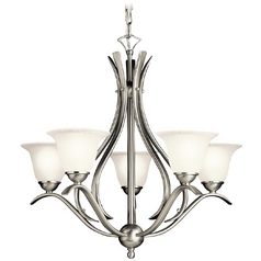 Kichler Lighting Kichler Chandelier with White Glass in Brushed Nickel Finish 10320NI