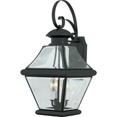 Outdoor Wall Light with Clear Glass in Mystic Black Finish