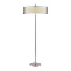 Modern Floor Lamp with Silver Shades in Satin Nickel Finish
