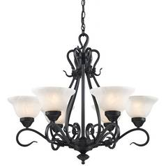 Elk Lighting Chandelier with White Glass in Matte Black Finish 256-BK