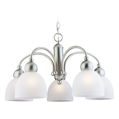 Sea Gull Lighting Modern 5-Light Chandelier with White Glass in Brushed Nickel