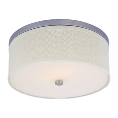 Drum Ceiling Light in Satin Nickel Finish with a Cream Shade