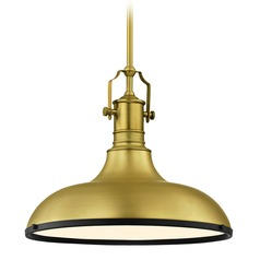 Farmhouse Brass Pendant Light with Black Accents 15.63-Inch Wide