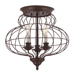 Flushmount Light in Rustic Antique Bronze Finish