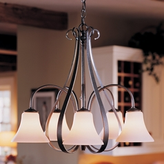 Hubbardton Forge Lighting Sweeping Taper Natural Iron Chandelier
