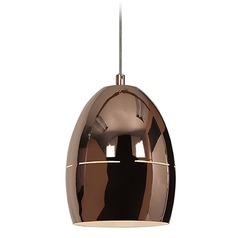 Access Lighting Essence Rose Gold Mini-Pendant Light with Bowl / Dome Shade