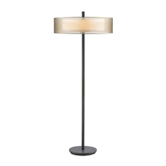 Modern Floor Lamp with Brown Shades in Black Brass Finish