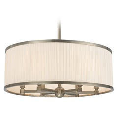 Hastings 6 Light Pendant Light Drum Shade - Historic Nickel