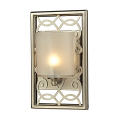 Sconce Wall Light with White Glass in Aged Silver Finish