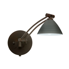 Besa Lighting Modern Swing Arm Lamp with Grey Glass in Bronze Finish 1WW-1743TN-BR