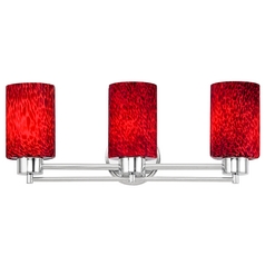 Modern Bathroom Light with Red Glass in Chrome Finish
