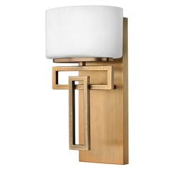 Sconce with White Glass in Brushed Bronze Finish