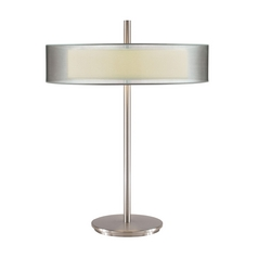 Modern Table Lamp with Silver Shades in Satin Nickel Finish