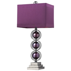 Modern Table Lamp with Purple Shade in Purple / Black Nickel Finish