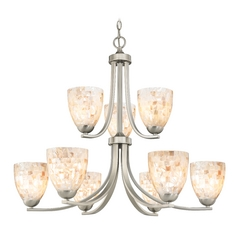 Design Classics Lighting Chandelier with Mosaic Glass in Satin Nickel Finish 586-09 GL1026MB
