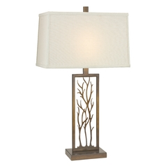 Bronze Table Lamp with Rectangle Shade