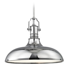 Nautical Large Pendant Light with Chrome Shade 18.38-Inch Wide
