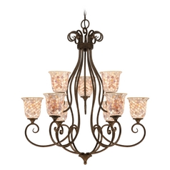 Quoizel Lighting Chandelier with Beige / Cream Glass in Malaga Finish MY5009ML