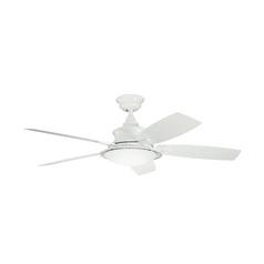 Kichler Ceiling Fan with Light with White Glass in White Finish