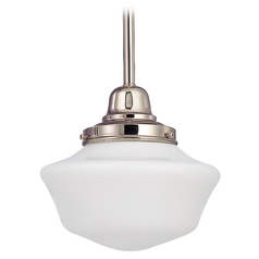 8-Inch Schoolhouse Mini-Pendant Light in Polished Nickel