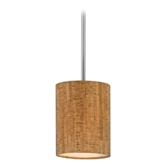 Chrome Mini-Pendant Light with Cork Drum Shade