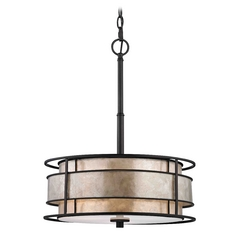 Bronze Drum Pendant Light with Mica Shade