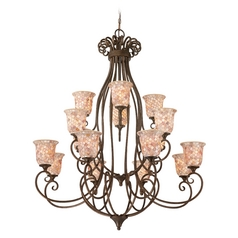 Quoizel Lighting Chandelier with Beige / Cream Glass in Malaga Finish MY5016ML