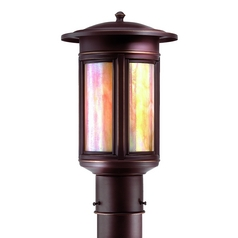 Post Light with Iridescent Glass in Oil Rubbed Bronze Finish