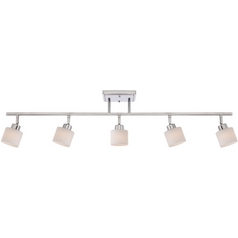 Modern Track Light Kit with White Glass in Polished Chrome Finish