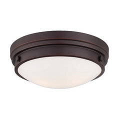 Flushmount Light with White Glass in Lathan Bronze Finish
