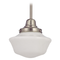 Design Classics Lighting 8-Inch Vintage Style Schoolhouse Mini-Pendant Light in Satin Nickel FB4-09 / GA8