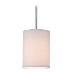 Design Classics Lighting Modern Chrome Mini-Pendant Light with White Drum Shade DCL 6542-26 SH7482
