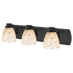 3-Light Mosaic Glass Bathroom Light in Bronze